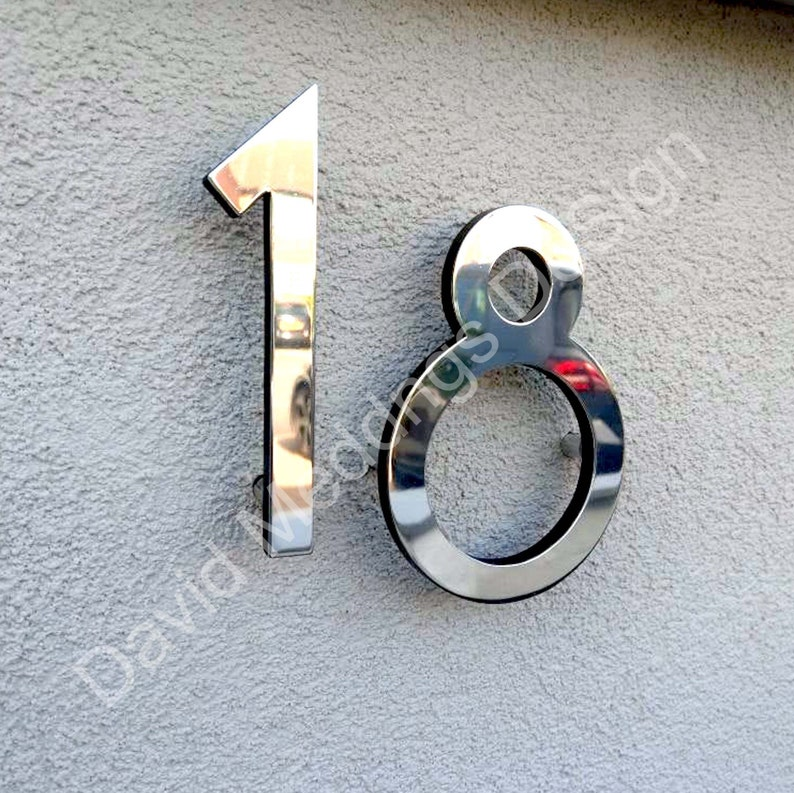 Modern style floating numbers in brass 6/150mm high image 0