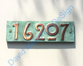 """Mission Mackintosh green copper address plaque with plywood back 5x numbers 3""""/75mm or 4""""/100mm high d"""