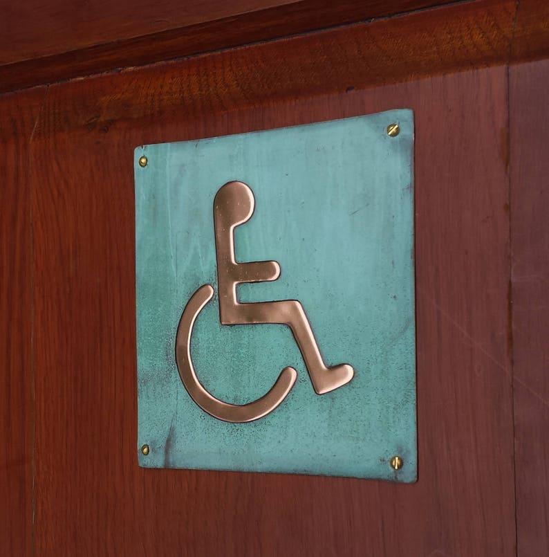 Wheelchair user disabled toilet lavatory sign door Plaque image 0