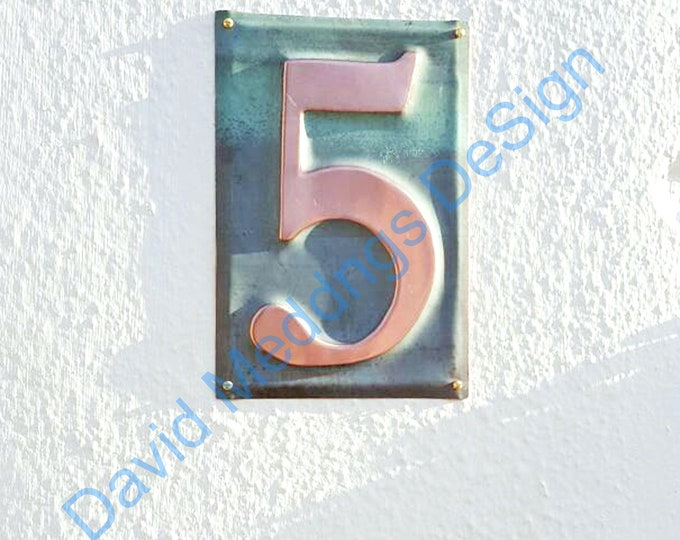 """Large Metal house copper number plaque Housewarming Gift  -  1x 6""""/150mm high  dS"""