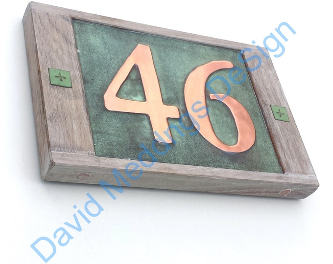 """House number plaque in Real copper with limed oak frame 2x 3""""/75mm or 4""""/100 mm high numbers d"""