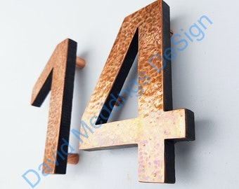 """Modern House numbers hammered,brushed or green copper Contemporary floating in 3""""/75mm high Antigoni  dS"""