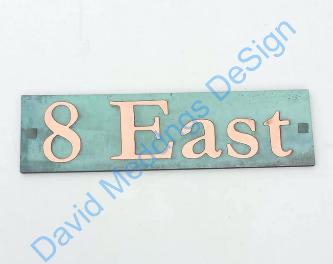 """Street Sign Plaque in green or hammered Copper  - plywood backed 3""""/75mm high in Garamond Shp"""