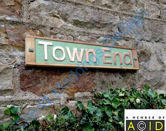 """House Sign Names in Oak and Copper in UPPER and lower case 3""""/75 mm high Antigoni on one line  dS"""