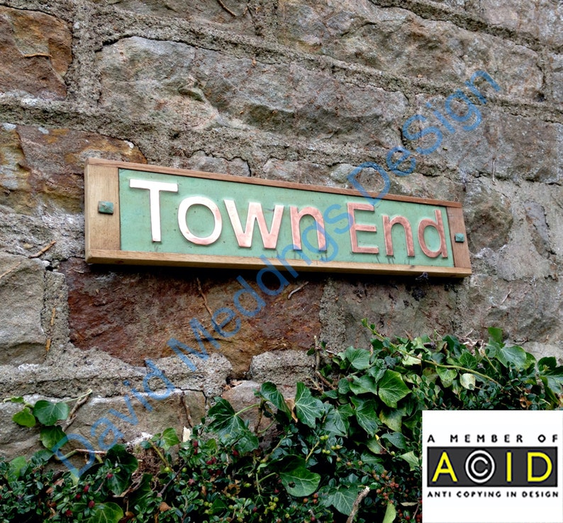 House Sign Names in Oak and Copper in UPPER and lower case image 0