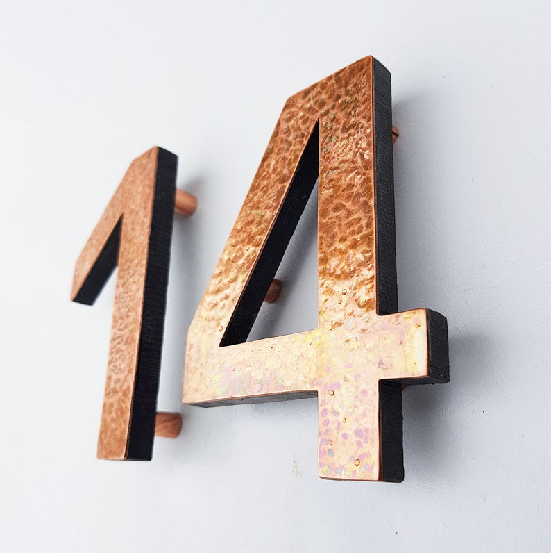 Modern House numbers hammered or green copper Contemporary image 0