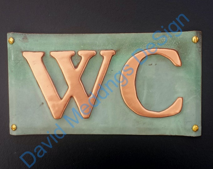 """Copper door plaque WC toilet lavatory sign  in 2""""/50mm high Garamond or your initials green or hammered finish ? dS"""