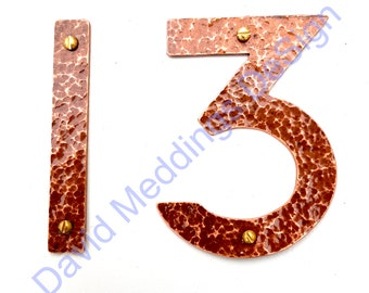 """Arts and Crafts style Copper numbers letters polished, hammered or brushed, 3""""/75mm or 4""""/100mm high P22 font tuS"""