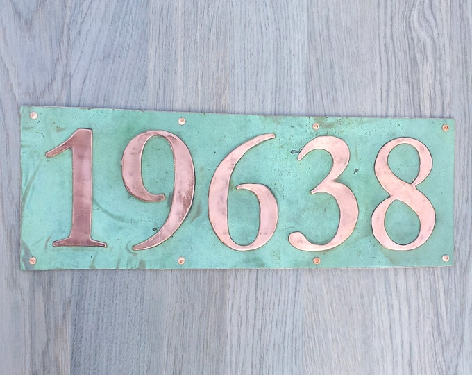 """Large  House address plaque 6"""" high numbers in Copper,lacquered and patinated, 5 x nos in Garamond,  unique on the web g"""