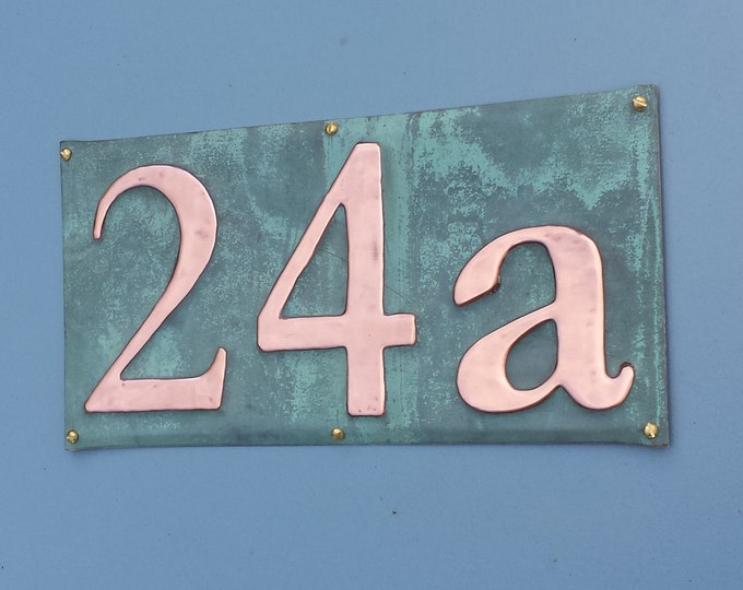 "Copper House Sign  plaque in Serif font, 3""/75mm, 4""/100mm high, polished and laquered, 3 x numbers g"