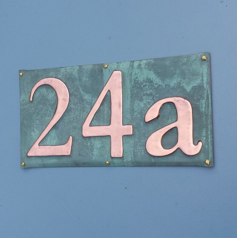 House Sign  number plaque in Copper polished and laquered 3x image 0