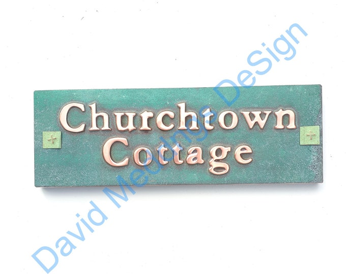 """Traditional Copper Sign Plaque 1""""/25mm characters in Garamond on one or two lines, plywood backed for easy stucco brick fitting dS"""
