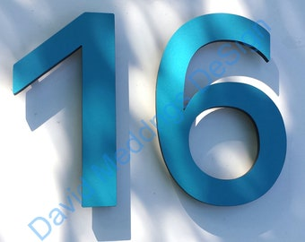 """Modern contemporary Coloured House numbers standoff floating  9"""" high in Antigoni font in virgin cladding offcuts dS"""