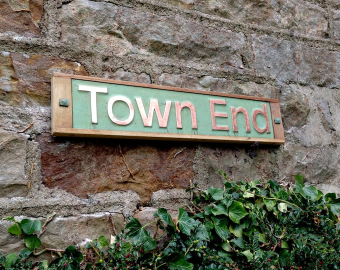 """House Sign Names in Oak and Copper, 3""""/75 mm high in UPPER and lower case Antigoni on one line,  shipped worldwide g"""