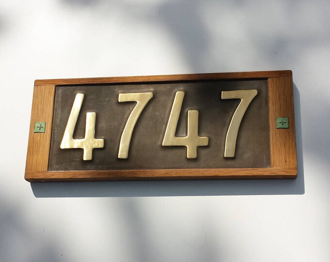 """Brass and Oak framed  Mission Mackintosh Style 3""""/75mm, 4""""/100mm,  address plaque, 4 x nos, polished, patinated and  laquered g"""