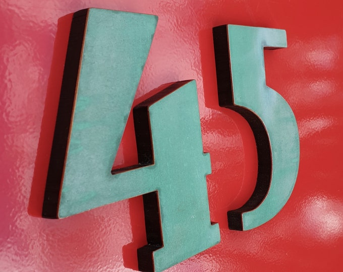"""Art Deco copper House floating numbers  green, hammered, brushed or polished 4""""/100mm high  t"""