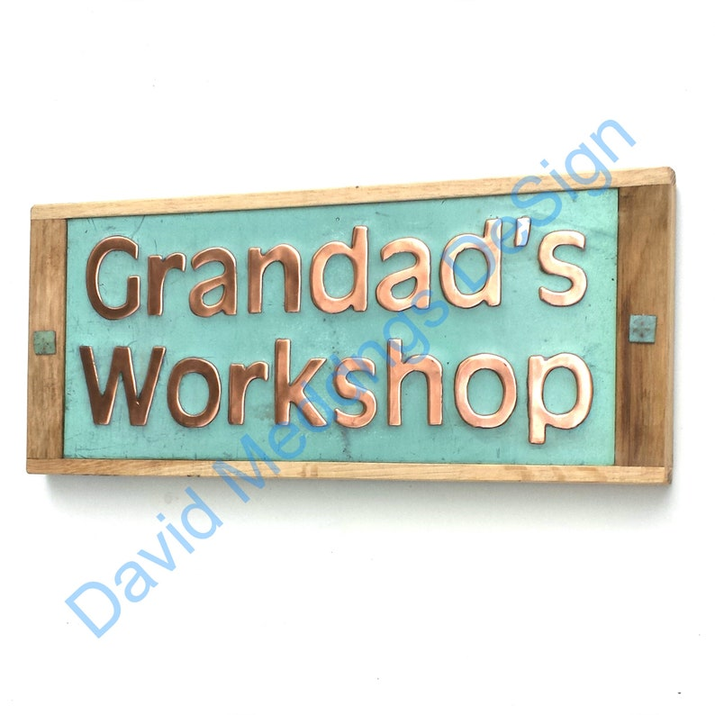 House sign plaque in Copper with oak frame in 2 high image 0