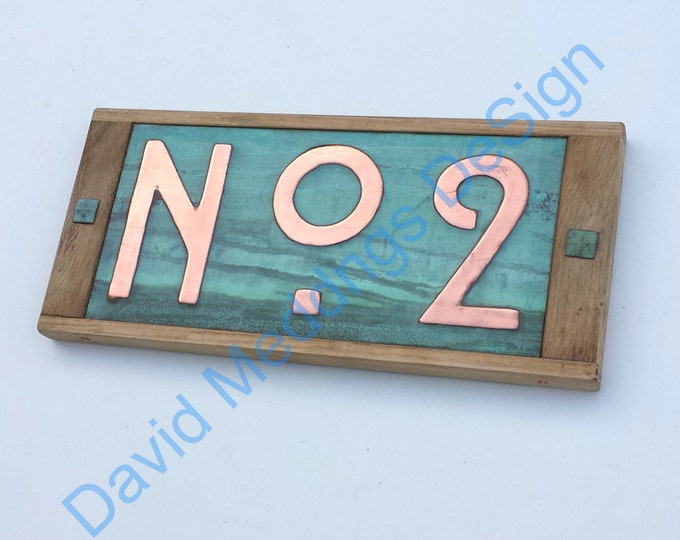 """Metal Street sign in Mission Mackintosh style  with oak frame, prefix 'No' followed by 1x 3""""/75mm or 4""""/100mm high dS"""