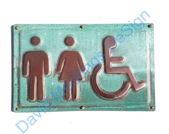 """Unisex and Wheelchair user disabled toilet lavatory sign 4.5""""/115mm high in hammered or patinated copper Shp"""