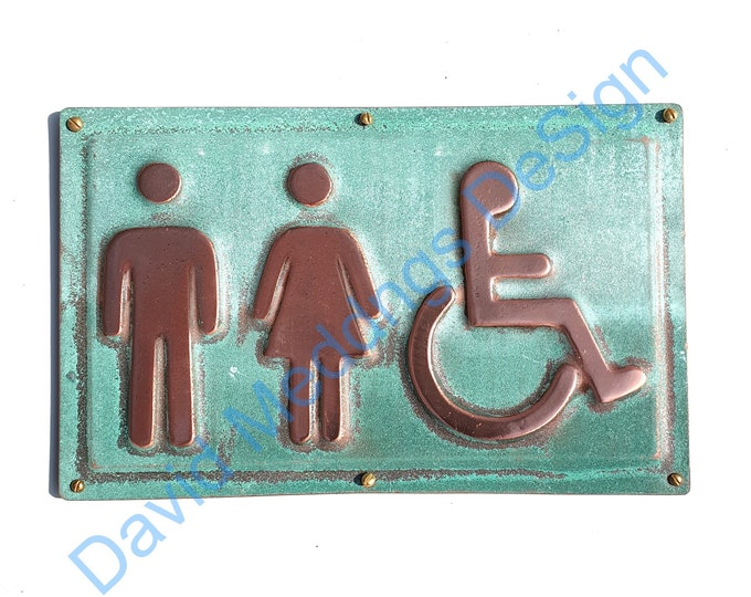 """Unisex and Wheelchair user disabled toilet lavatory sign 4.5""""/115mm high in hammered or patinated copper d"""