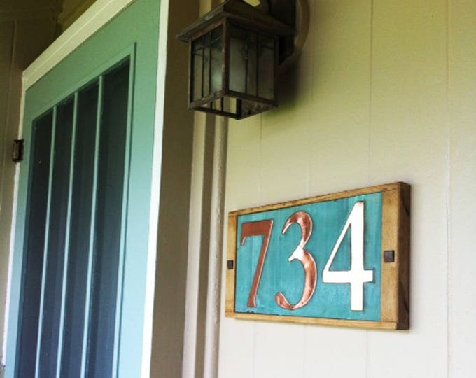 """Large Copper House numbers in oak frame 3 x nos. 6""""/150mm high nos.  serif Garamond font, shipped worldwide e"""