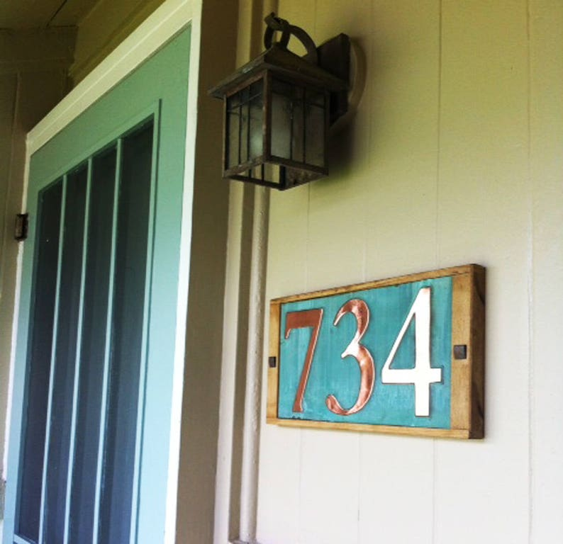 Large Copper House numbers plaque with oak frame 3x image 0