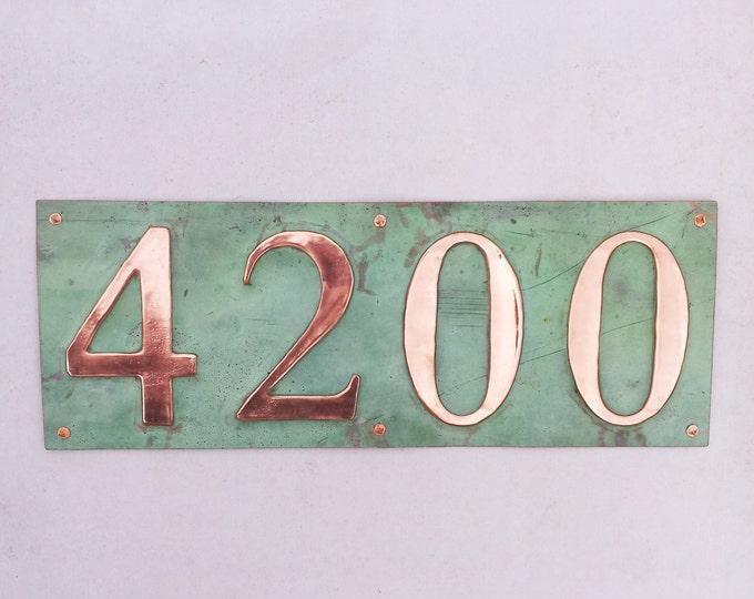 "Copper address Plaque, 3""/75mm or 4""/100mm custom 4 x  Number Address plaque g"