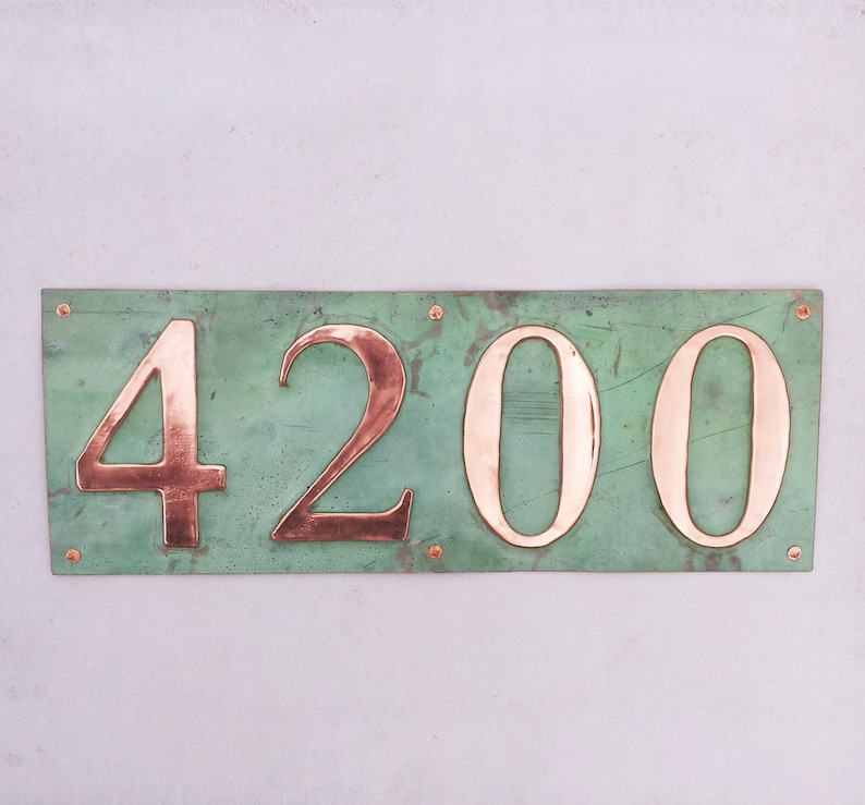 Green copper address plaque 4x house numbers  in 3/75mm image 0