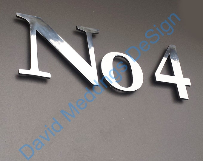 """Large Polished or brushed aluminium floating house numbers  9""""/228mm high lacquered with in Garamond dS"""