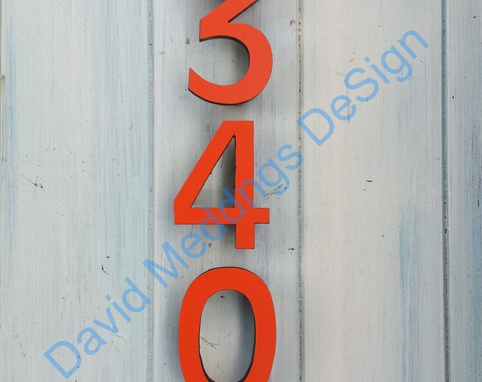 """Coloured House numbers Modern contemporary standoff floating  4""""/100mm high in Antigoni font d"""