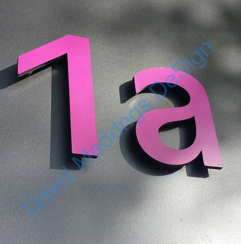 Modern contemporary floating Coloured House standoff numbers image 0