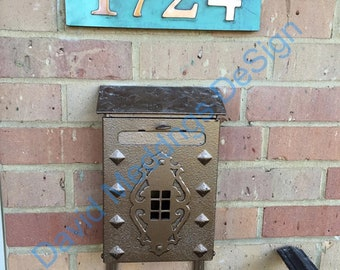 """House Address copper plaque in Garamond with plywood back 3""""/75mm or 4""""/100 mm, 4x nos. easy fitting for stucco, brick and timber Shp"""