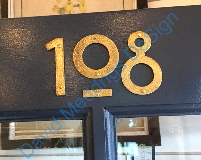 """Brass house mailbox numbers in Mission Mackintosh style in polished, hammered or brushed finish 3""""/75mm or 4""""/100mm high  tS"""