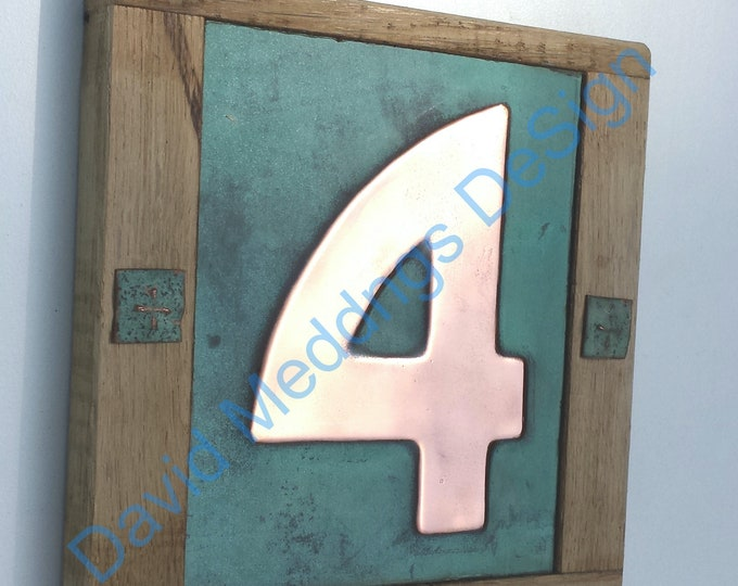 """Arts and Crafts Style Wood and Copper House number plaque 1x no 3""""/75mm or 4""""/100mm Bala font Shp"""