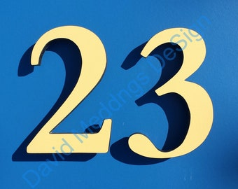 """Coloured House floating numbers standoff in 6""""/150mm high in Garamond font in virgin offcut cladding dS"""
