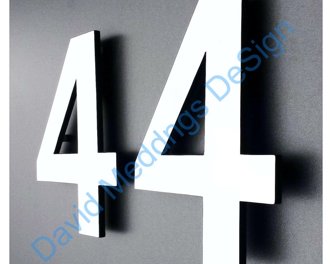 """Modern contemporary Coloured House numbers in Antigoni  6""""/150mm high standoff floating dS"""