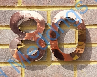 """Large modern style floating numbers in copper, 9""""/228mm high in polished, hammered or brushed with some discreet seams Antigoni font t5"""
