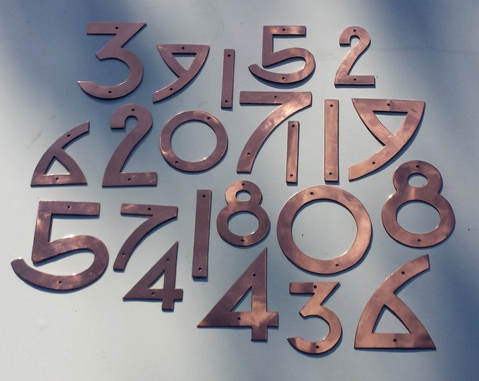 "Copper numbers and letter in Arts and Crafts style, polished or hammered copper, 3""/75mm or 4""/100mm high  Dard Hunter font"