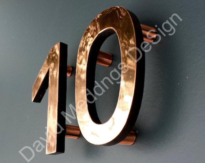 "House numbers Modern copper floating in polished or brushed Antigoni, 4""/100mm high u"