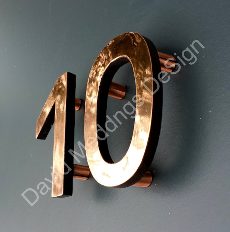 House numbers Modern copper floating in polished or brushed image 0