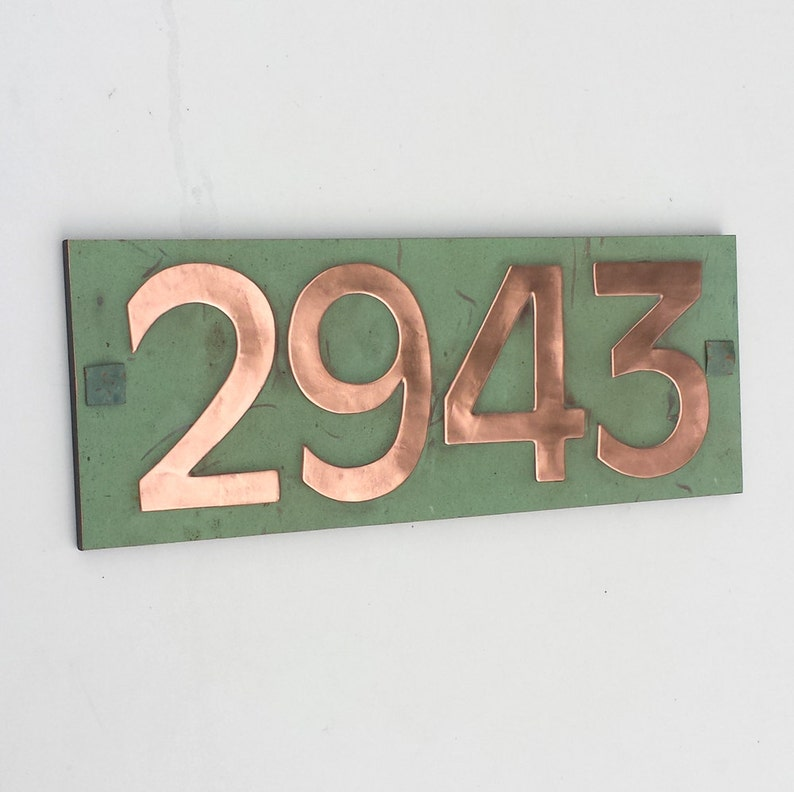 Modern Style House number plaque in copper with plywood back image 0