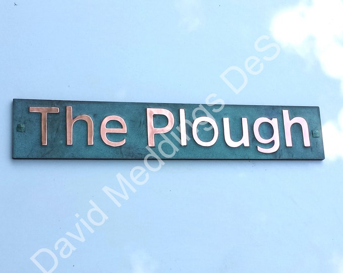 """Green Copper Sign name house Plaque on plywood in 3"""" Antigoni for brick stucco wood fixing Shp"""