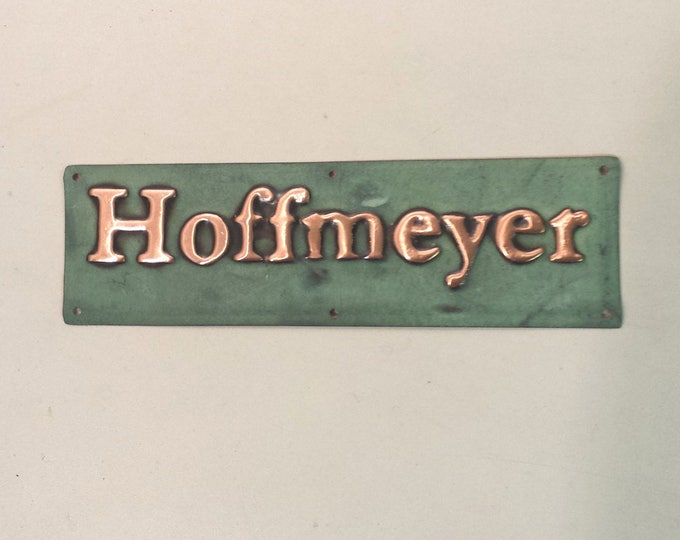 "Small Gate, door name Sign address plaque up to 22 letters of your choice in 1"" high Garamond font, patinated copper"