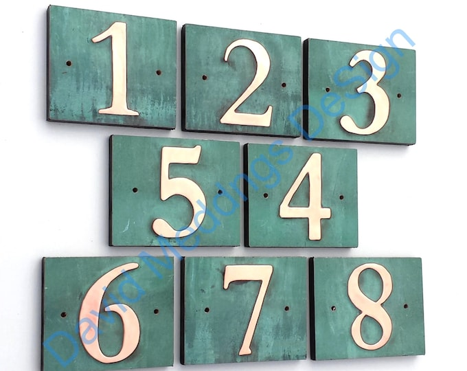 """Traditional house number green copper on plywood 1x 3""""/75mm or 4""""/100 mm high, green patina in Garamond Shp"""