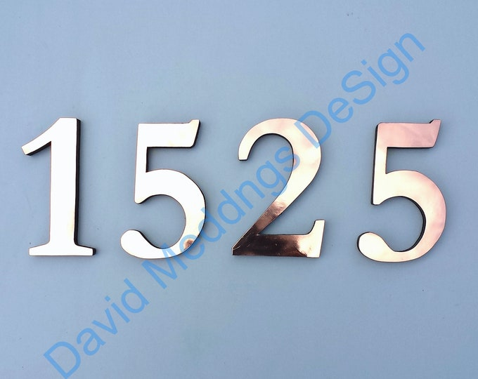 """Serif style floating numbers in Polished, hammered or brushed copper 6""""/150mm high Garamond  t2S"""