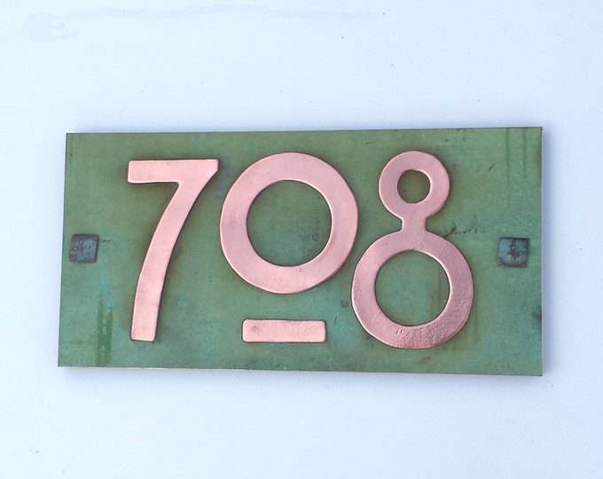 "Arts and Crafts plaque in patinated copper 3""/75mm, 4""/100mm high with plywood back, 3 x nos. g"