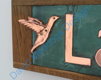 Copper Humming bird detail element addon to buy with signage, polished lacquered d