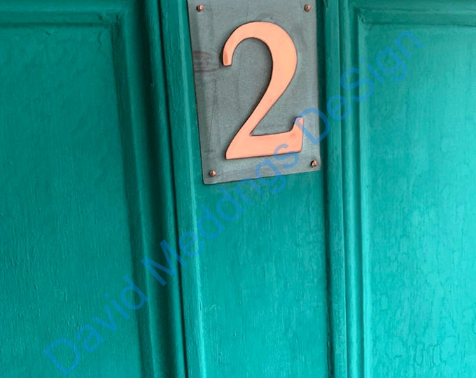"""House number Plaque Upcycled green copper Metal 1x 3""""/75mm or 4""""/100mm high Shp"""