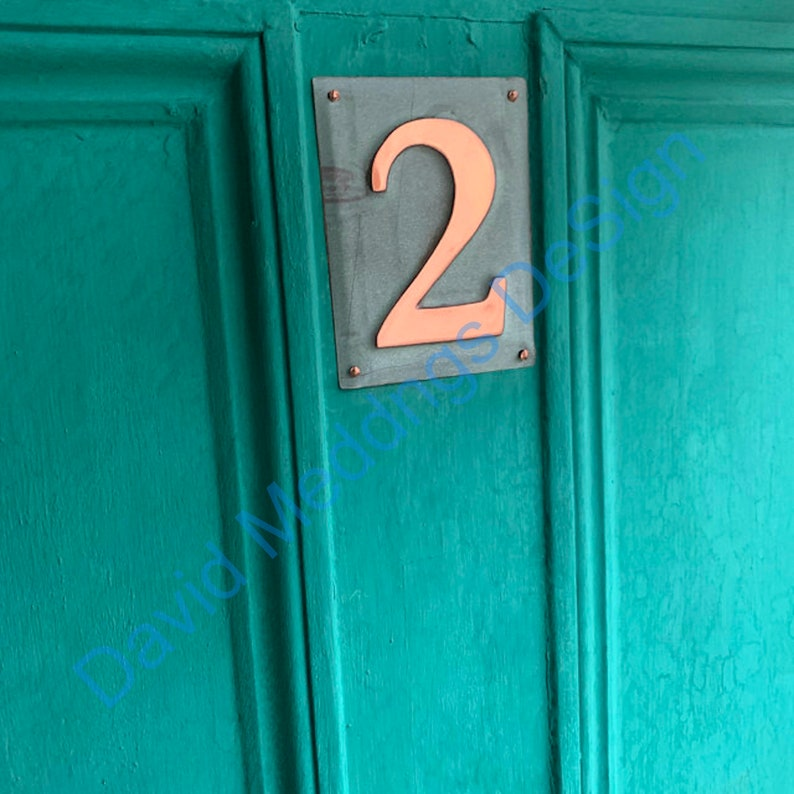 House number Plaque Upcycled green copper Metal 1x image 0