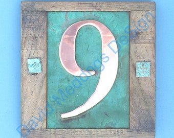 """Eco friendly Copper House with oak frame 1x no 3""""/75mm or 4""""/100mm number in Garamond font g"""